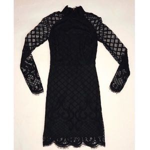 Dresses & Skirts - Black Long Sleeve Sheer Lace Dress Size Small